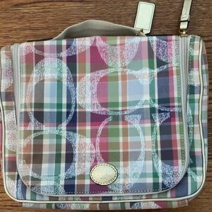 Coach Multicolor Daisy Plaid Cosmetic Travel Bag